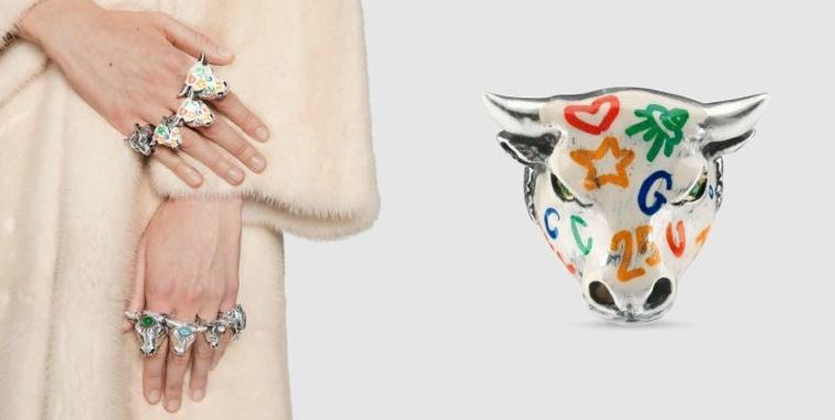 trendy bull-shaped-head rings
