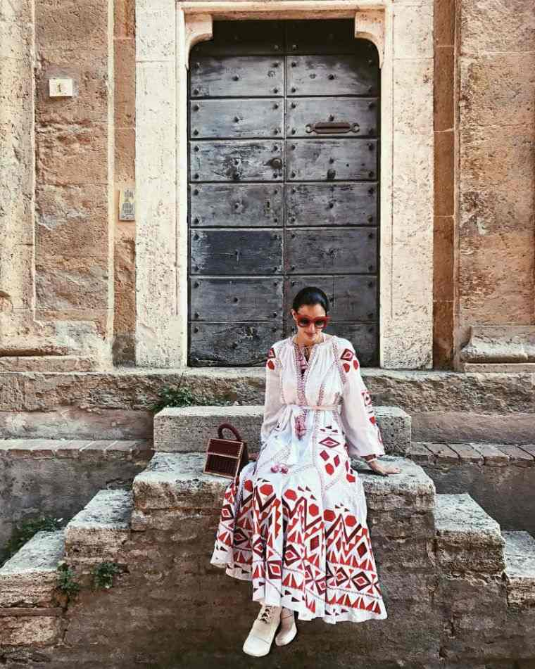 fashionable woman bohemian chic dress