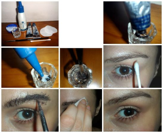 How to apply tint for eyebrows steps