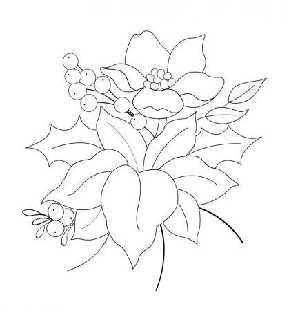 drawing christmas fabric flowers
