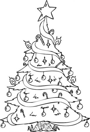 drawings of trees christmas coloring