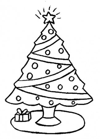 Christmas tree drawings coloring gifts