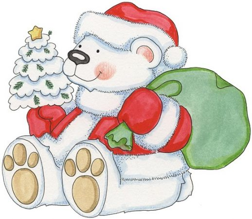 christmas drawings with color santa claus polar bear