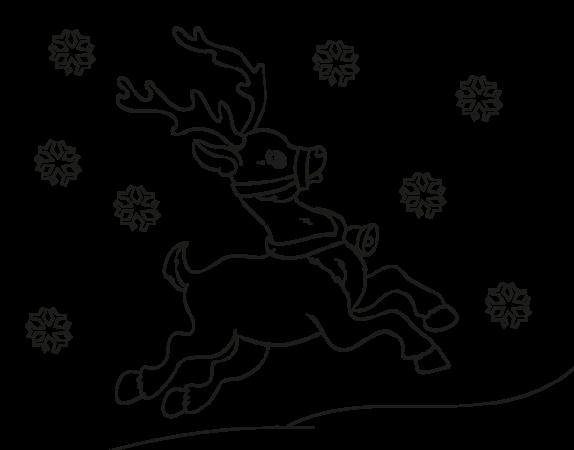 christmas drawings reindeer flying