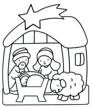 drawings for tracing Christmas crib