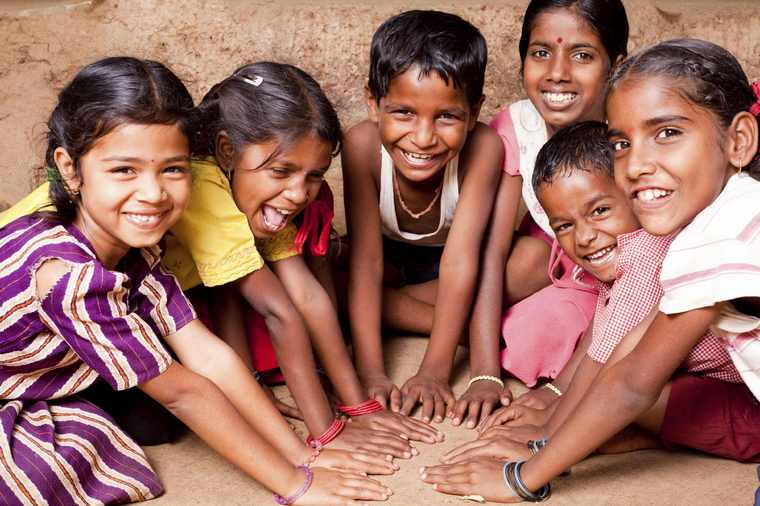 happy child having friends playing together