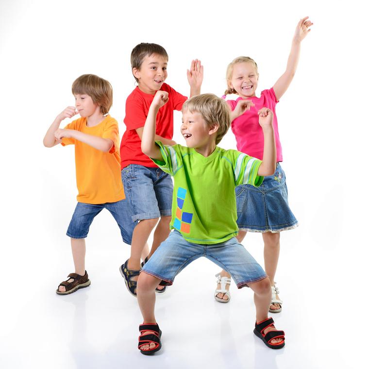 happy child moving having friends