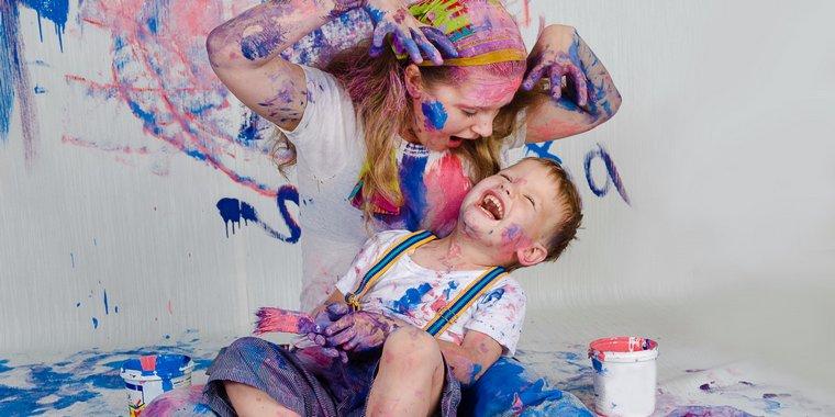 happy child doing crazy