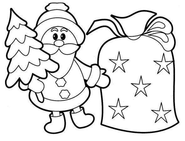 Santa Claus with a Christmas tree coloring