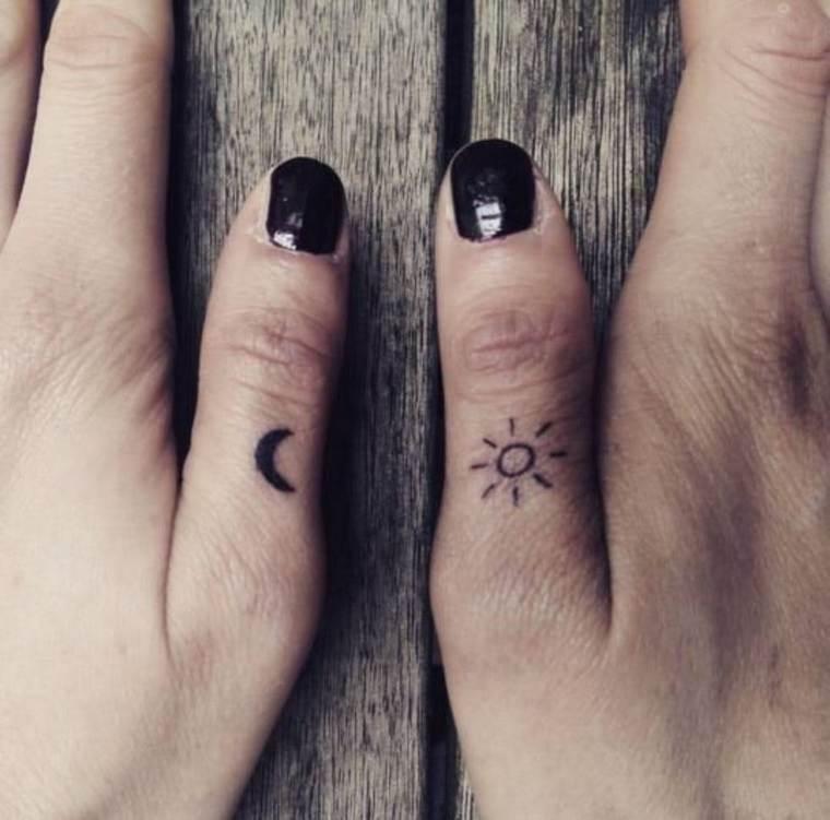first tattoo woman moon sun