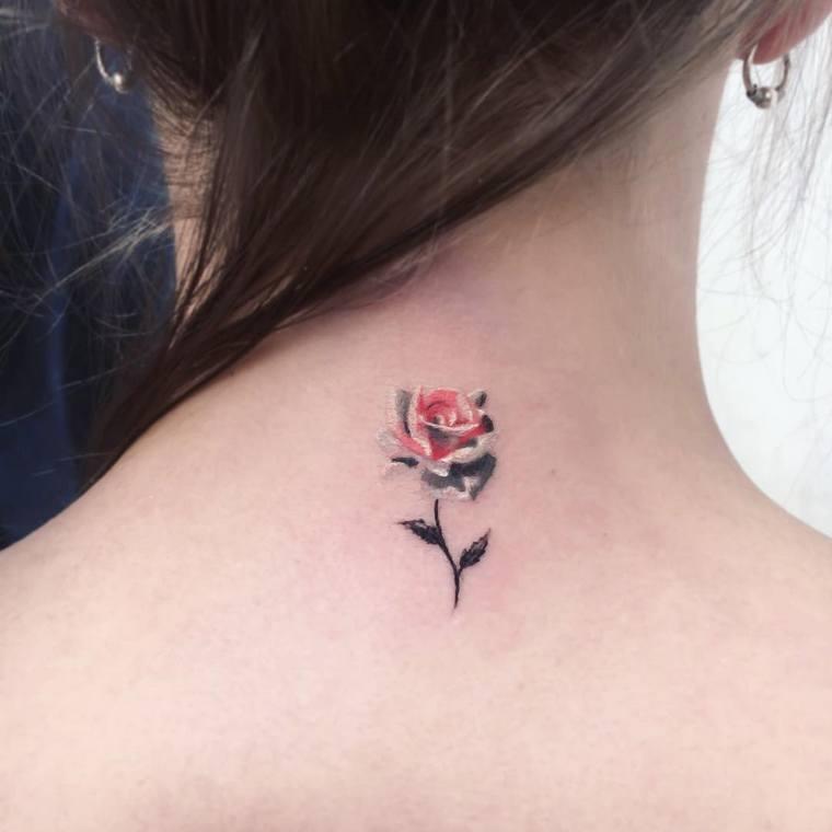 first tattoo woman pink nape