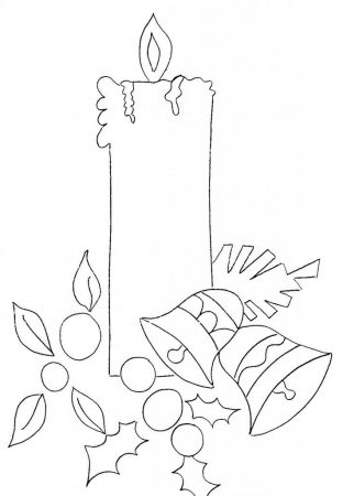 Christmas candle drawing for fabric