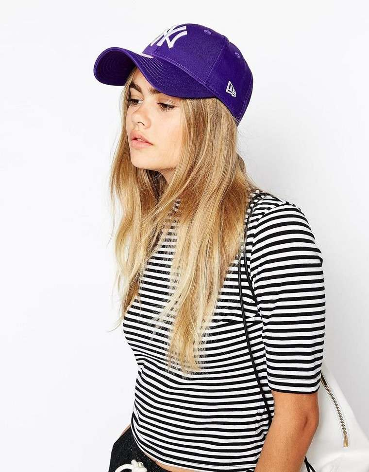 cap woman blouse stripes idea holding fashion