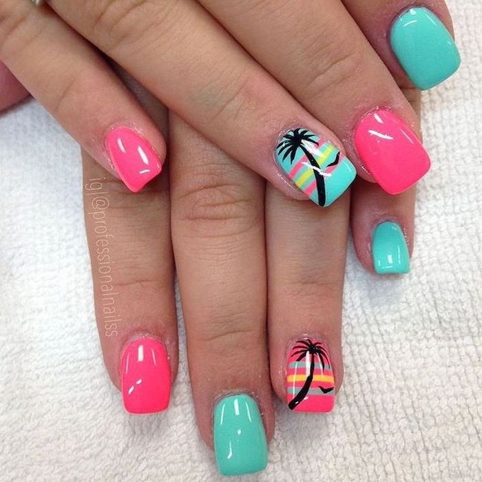 Summer and nail decor with trendy pattern