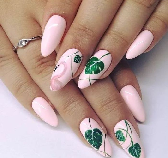 Nail template and deco idea in pink
