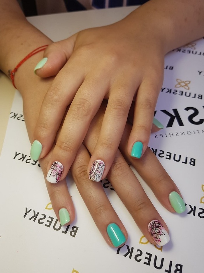 Nails with decoration in holiday colors