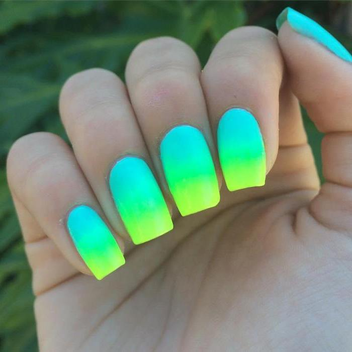 Neon nails for the beach