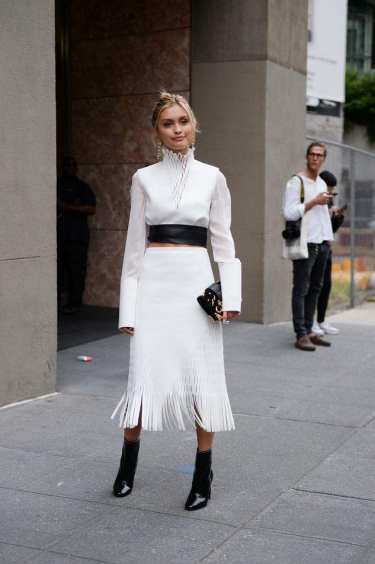 white shirt woman pants white