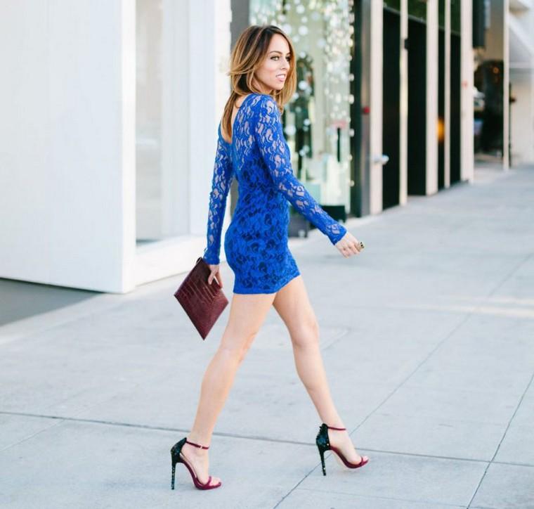 blue short dress woman look