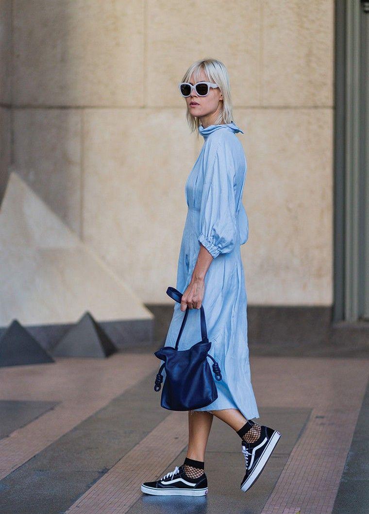 street style blue dress fashion woman