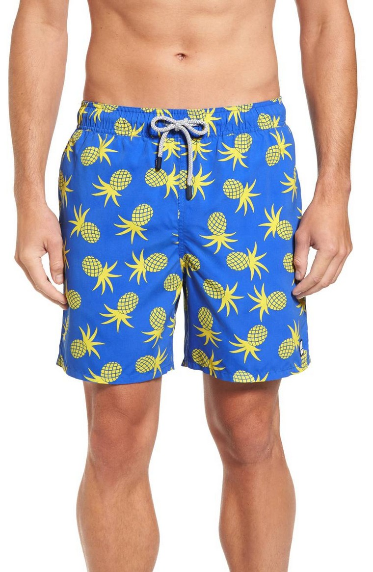 blue men's pineapple pattern shorts