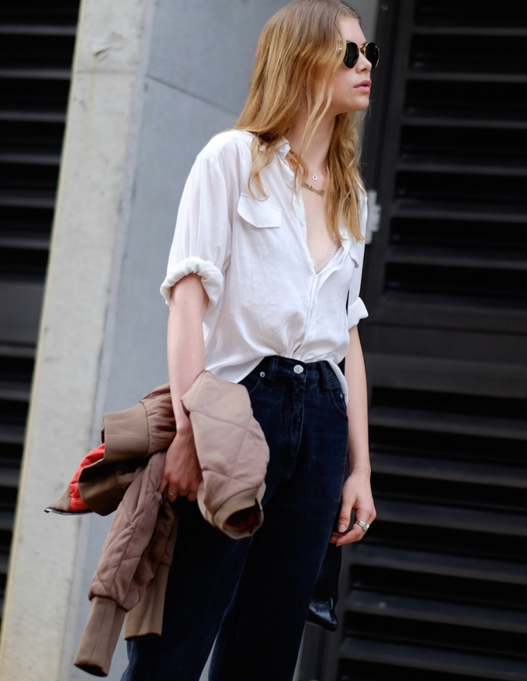 street style woman summer 2019 black jeans white shirt