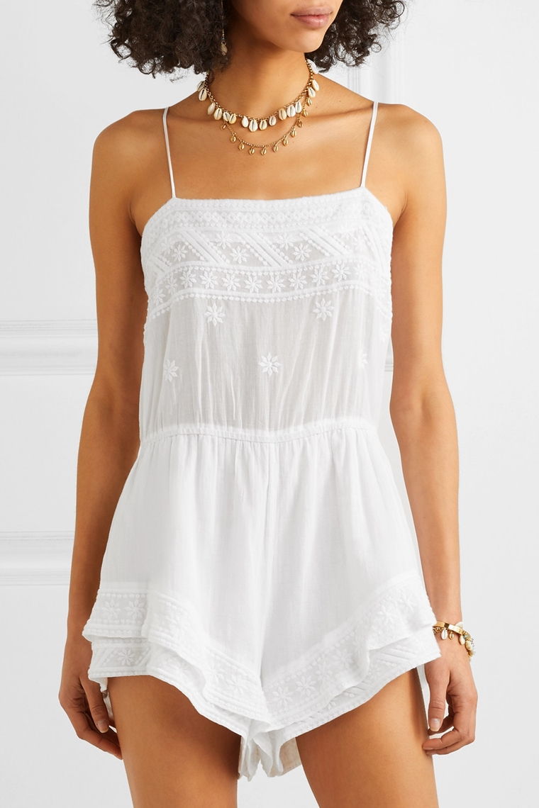 beachwear - accessories - white top in cotton with lace Isabel Marant