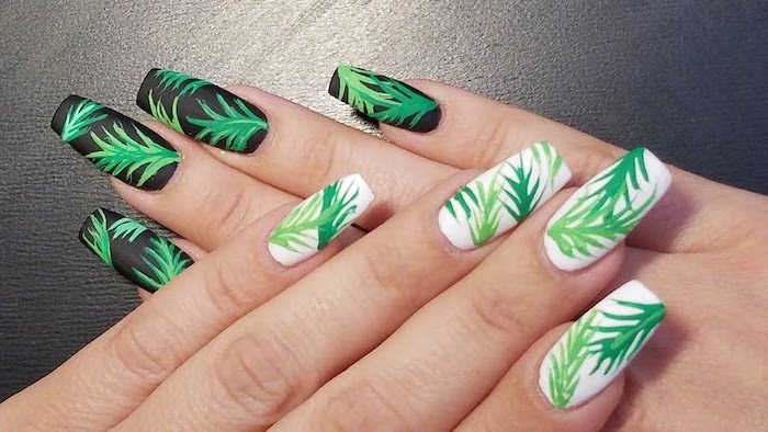 Green and white nail polish