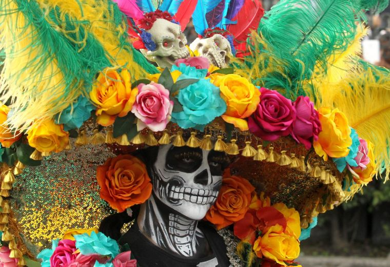 traditional costume with a mexican skull