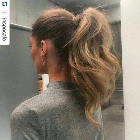Hairstyles with elegant ponytail waves