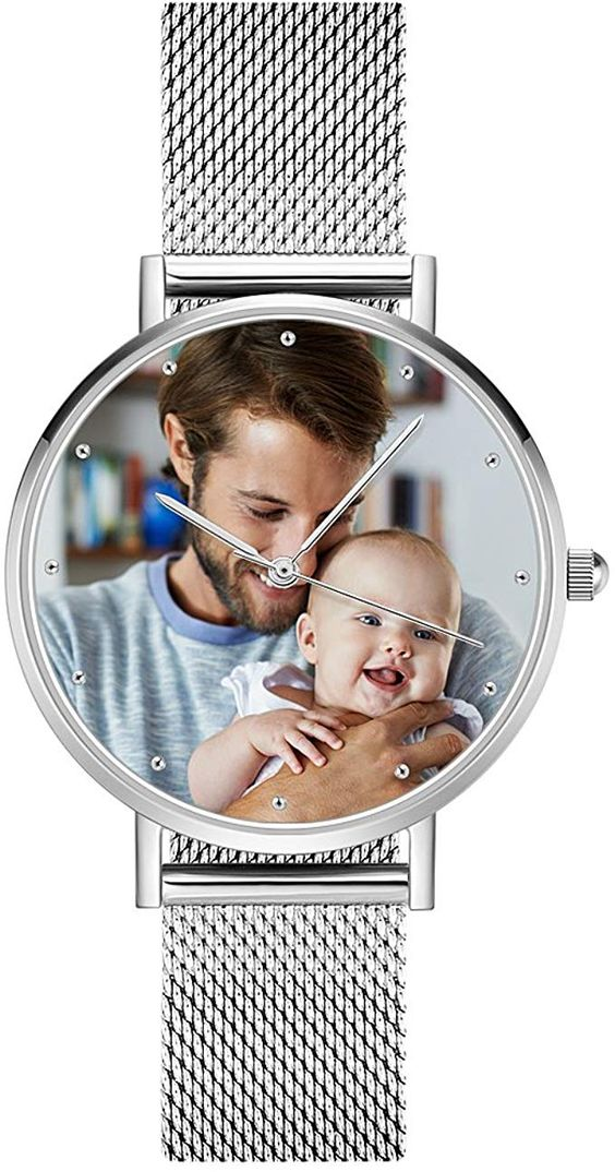 silver personalized watch