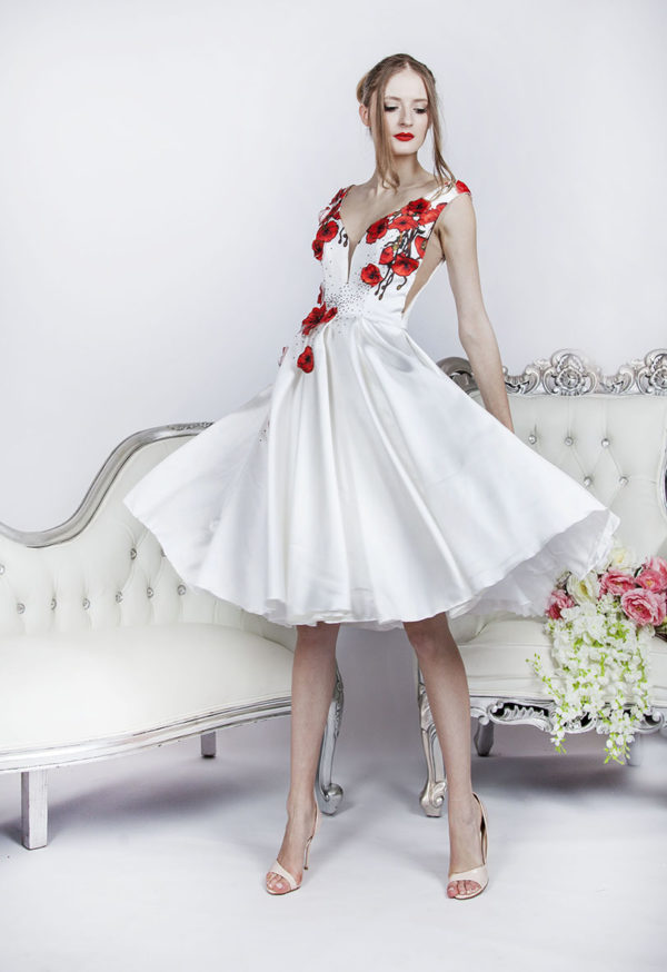 short wedding dresses with floral decor