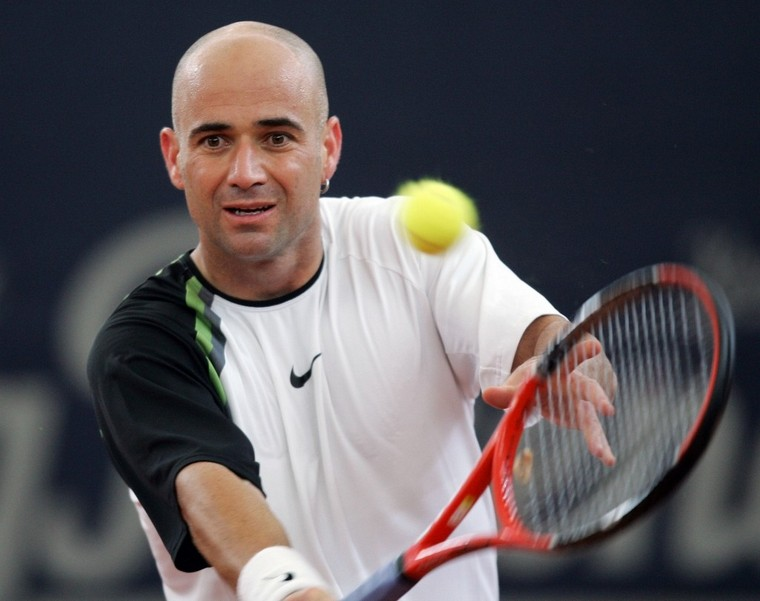 Andre Agassi bald tennis player