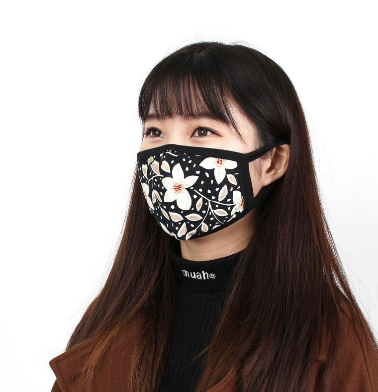 coronavirus mask black white flowers