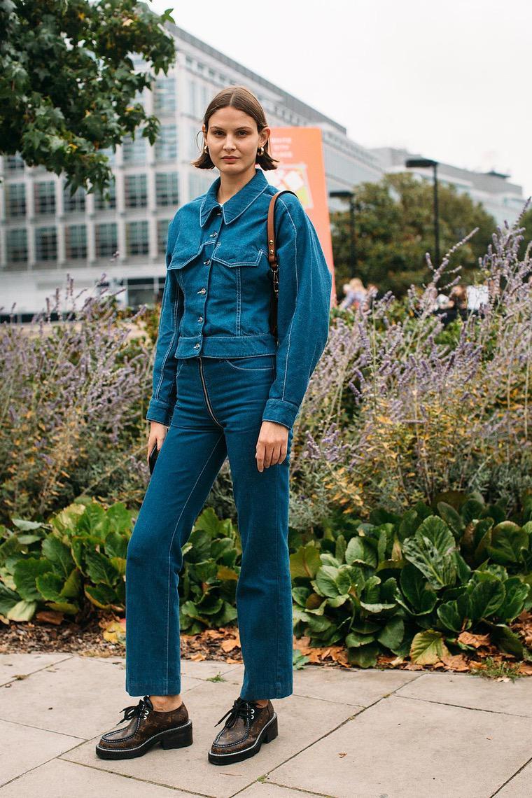 denim street style london woman