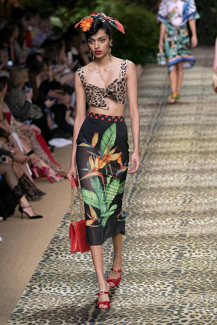 floral skirt and cropped top by Dolce Gabanna 2020