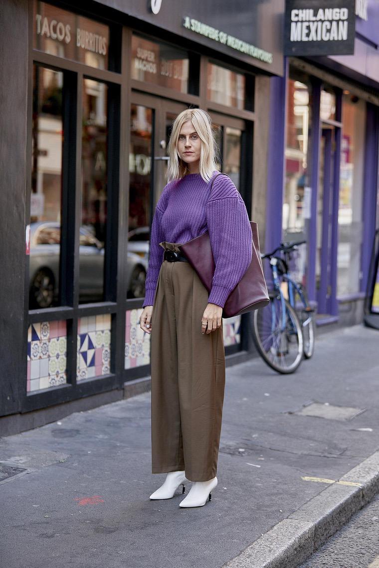 carrot pants and purple shirt