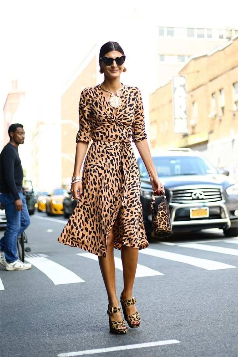 long dress with animal prints
