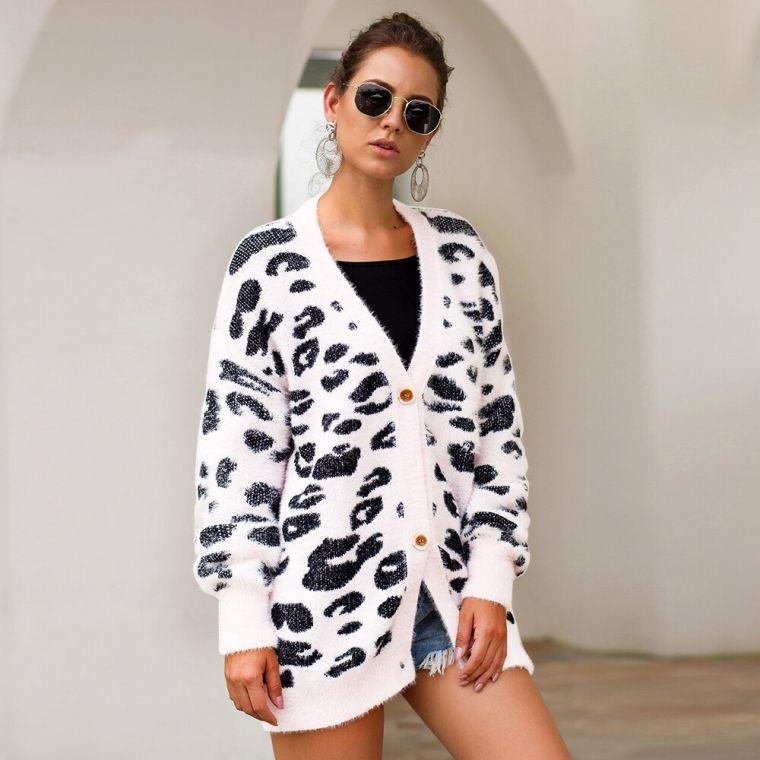 leopard jersey in white