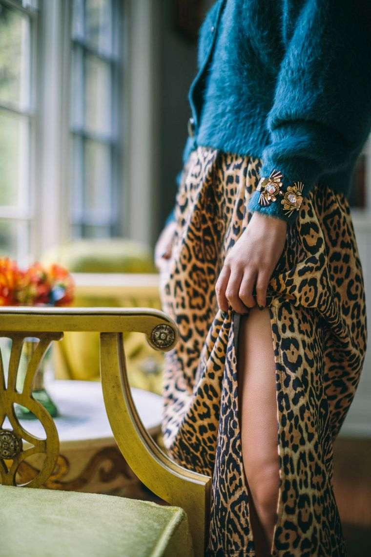 long skirt with leopard patterns