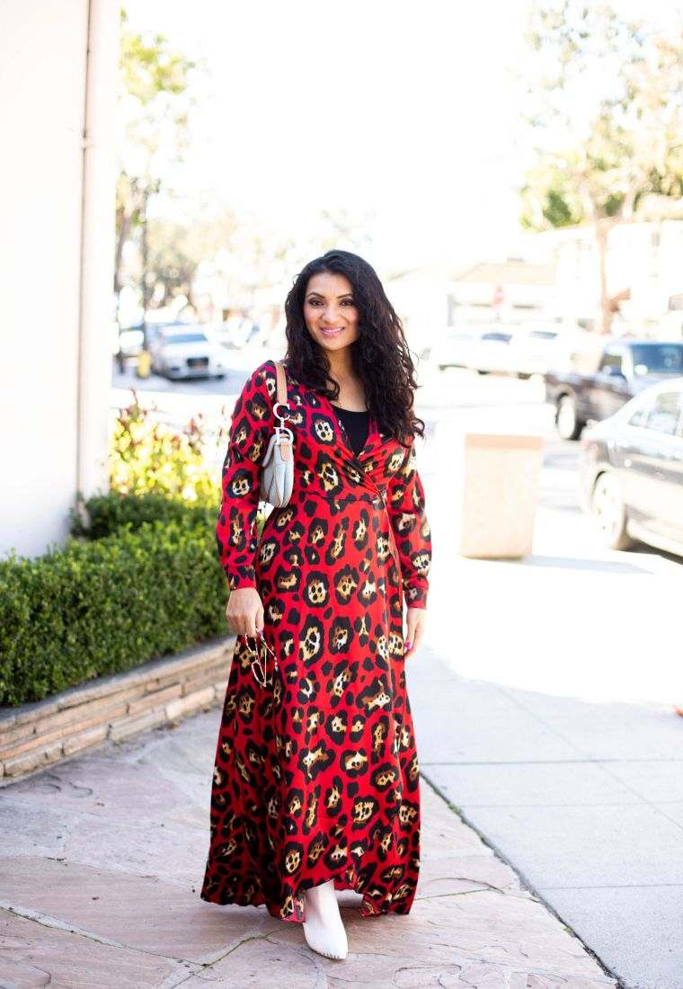red animal print dress