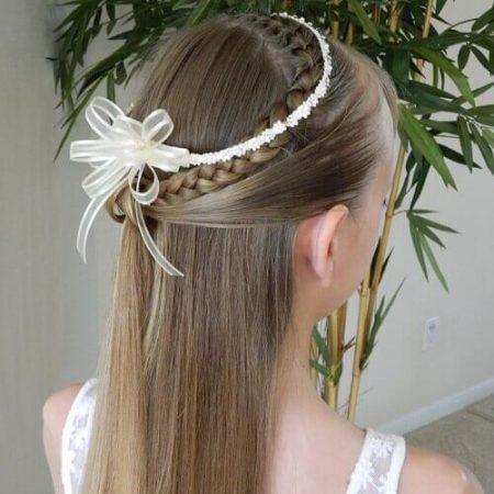 First communion hairstyle decorated braid headband