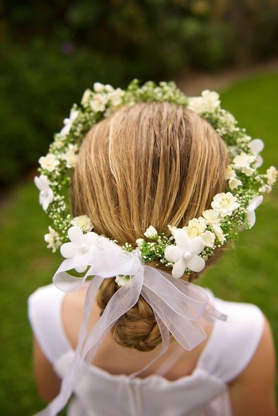 hairstyle first communion flowers collected under