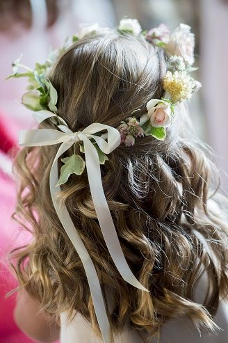 first communion hairstyle waves flowers mermaid