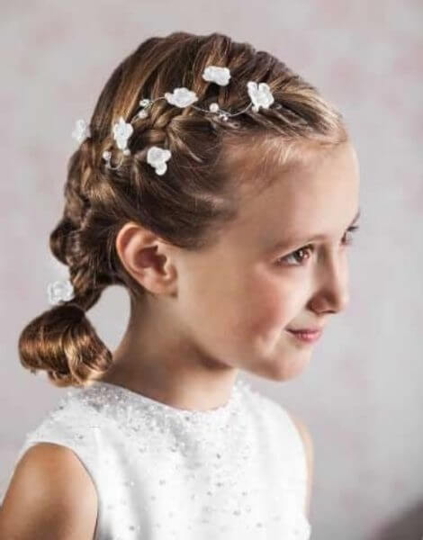 first communion hairstyles low ponytail for girls