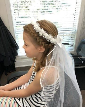 first communion hairstyles with veil braids