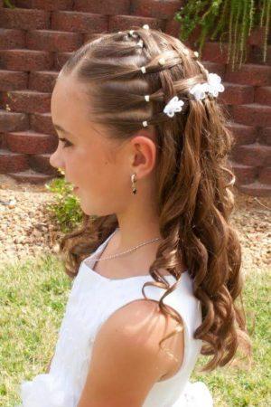 hairstyles first communion headband half ponytail