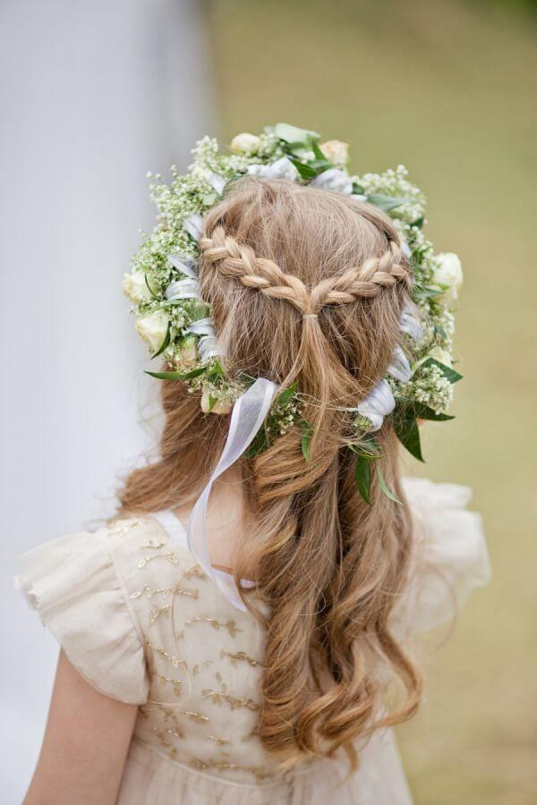 first communion hairstyles natural flowers