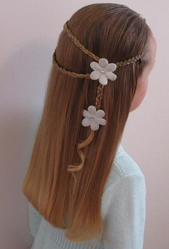 hairstyles first communion straight braids