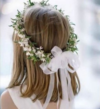 hairstyles first communion short hair flowers 2